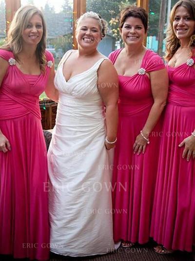 A-Line/Princess Square Neckline Floor-Length Bridesmaid Dresses With Ruffle Crystal Brooch (007218565)