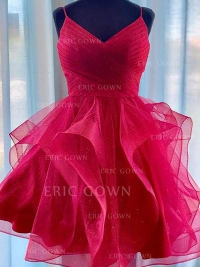 A-Line/Princess V-neck Short/Mini Homecoming Dresses With Ruffle (022219332)