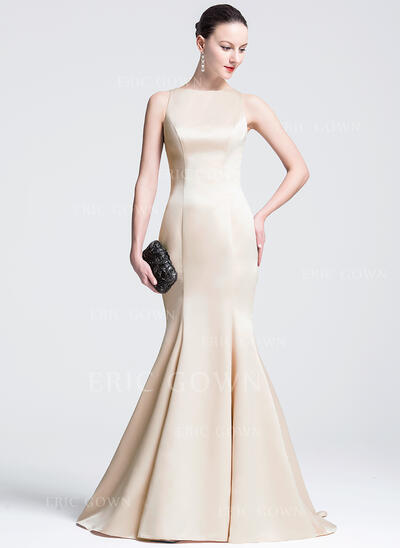 Trumpet/Mermaid Scoop Neck Court Train Satin Evening Dress (017074934)