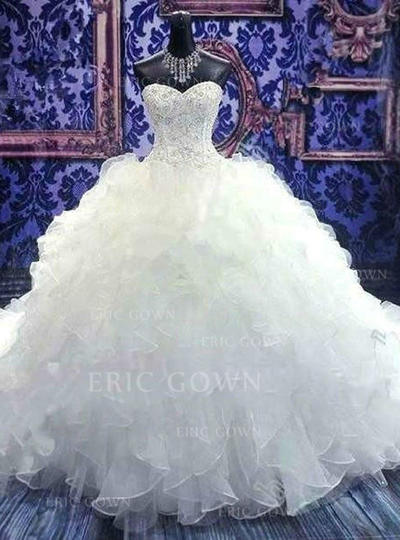 Ball-Gown Sweetheart Floor-Length Chapel Train Wedding Dresses With Beading Sequins (002148034)