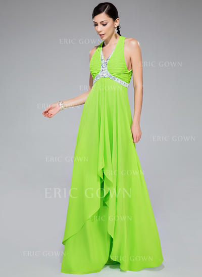 A-Line/Princess Chiffon Prom Dresses Beading Sequins Cascading Ruffles V-neck Sleeveless Floor-Length (018046245)