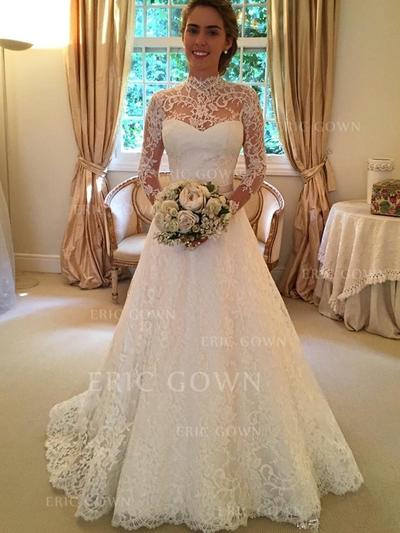 Ball-Gown Lace Long Sleeves High Neck Sweep Train Wedding Dresses (002144814)