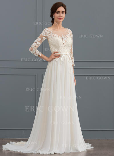 A-Line Illusion Sweep Train Chiffon Lace Wedding Dress With Bow(s) Split Front (002127254)