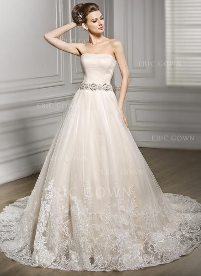 Ball-Gown Sweetheart Court Train Wedding Dresses With Beading Appliques Lace Sequins (002210584)