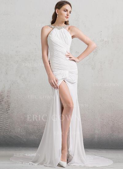 Trumpet/Mermaid Scoop Neck Court Train Chiffon Wedding Dress With Ruffle Beading Split Front (002084764)