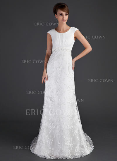 A-Line/Princess Lace Short Sleeves Scoop Court Train Wedding Dresses (002001630)