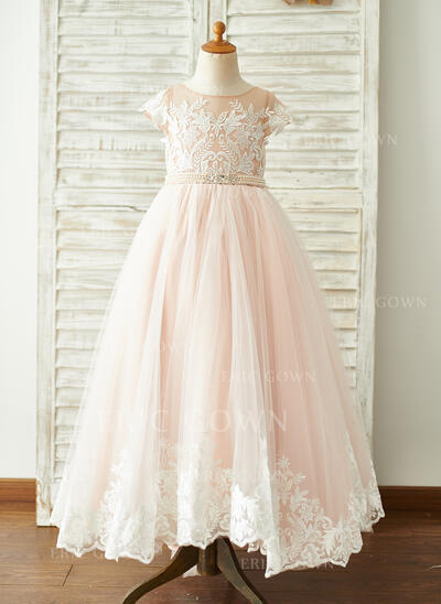 Ball-Gown/Princess Sweep Train Flower Girl Dress - Tulle/Lace Short Sleeves Scoop Neck With Beading (010192412)