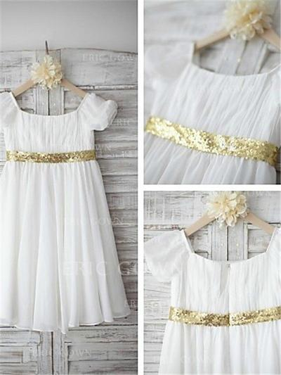 A-Line/Princess Scoop Neck Tea-length With Pleated Chiffon/Sequined Flower Girl Dresses (010211995)