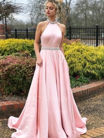 A-Line/Princess High Neck Sweep Train Prom Dresses With Beading (018218514)