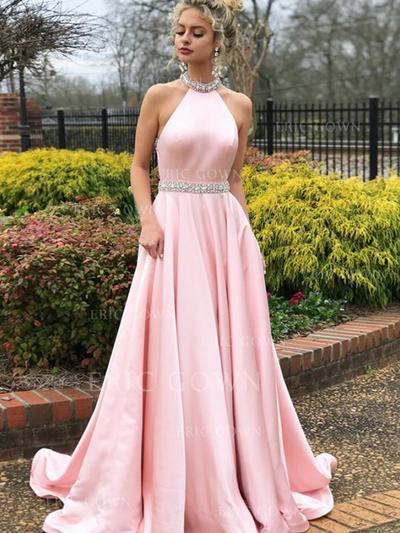 A-Line/Princess High Neck Sweep Train Satin Evening Dresses With Beading (017217887)