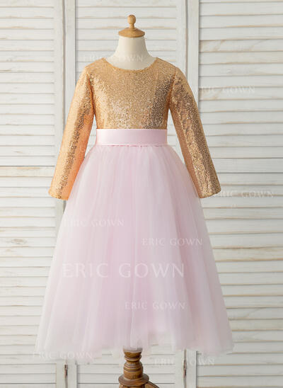 A-Line Floor-length Flower Girl Dress - Tulle/Sequined Long Sleeves Scoop Neck (010183518)