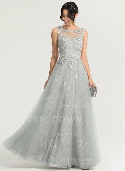 A-Line/Princess Scoop Neck Floor-Length Tulle Evening Dress (017167685)