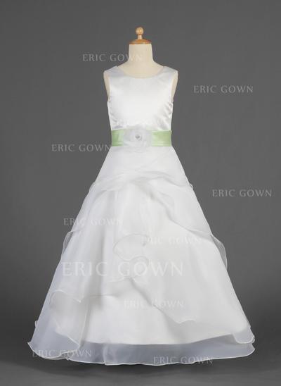 A-Line/Princess Floor-length Flower Girl Dress - Organza/Charmeuse Sleeveless Scoop Neck With Ruffles/Sash/Flower(s) (010014624)