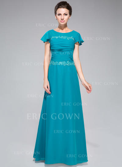 Sheath/Column Chiffon Short Sleeves Scoop Neck Floor-Length Zipper Up Mother of the Bride Dresses (008042312)