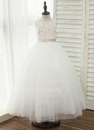 A-Line/Princess Ankle-length Flower Girl Dress - Tulle/Lace Sleeveless Scoop Neck With Sash (010156522)