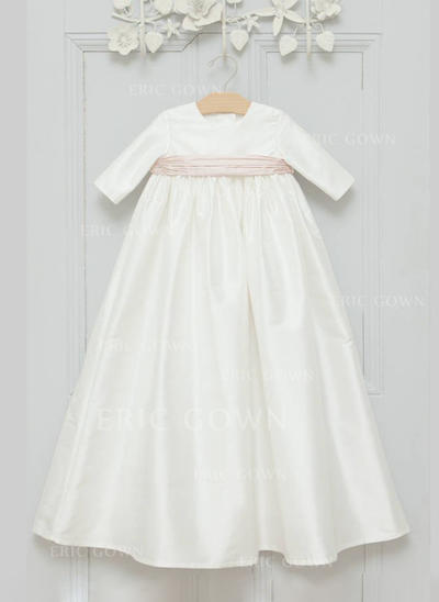 A-Line/Princess Scoop Neck Floor-length Satin Christening Gowns With Sash (2001216806)