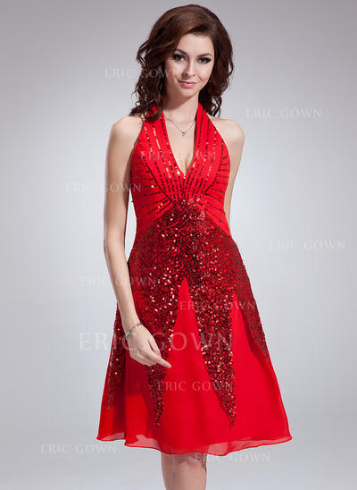 A-Line/Princess Halter Knee-Length Chiffon Cocktail Dresses With Sequins (016008413)