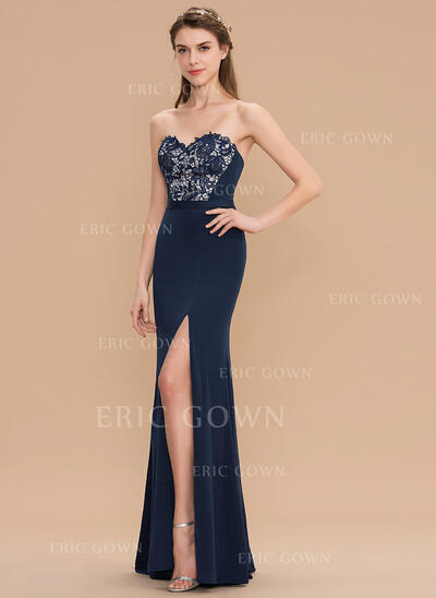 Sheath/Column Sweetheart Floor-Length Lace Jersey Bridesmaid Dress With Split Front (007165836)