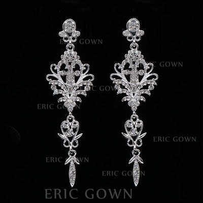 Earrings Alloy/Rhinestones Rhinestone Pierced Ladies' Wedding & Party Jewelry (011167887)