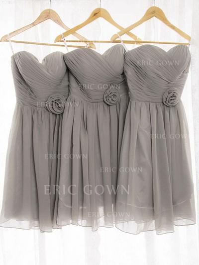 A-Line/Princess Sweetheart Knee-Length Bridesmaid Dresses With Ruffle Flower(s) (007212243)