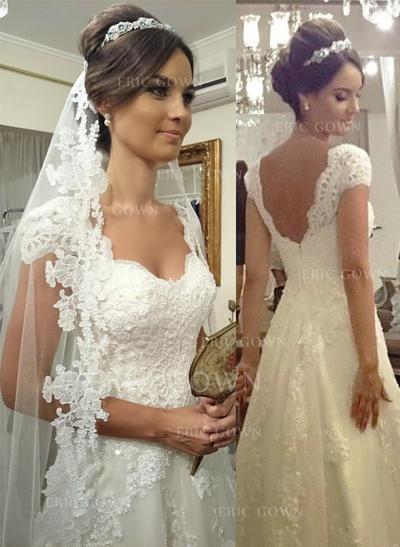 A-Line/Princess Sweetheart Court Train Wedding Dresses (002144865)