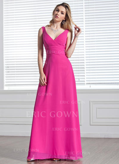 A-Line/Princess Chiffon Bridesmaid Dresses Ruffle V-neck Sleeveless Floor-Length (007001819)