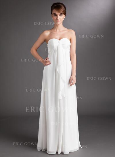 Empire Sweetheart Floor-Length Chiffon Wedding Dress With Cascading Ruffles (002001334)