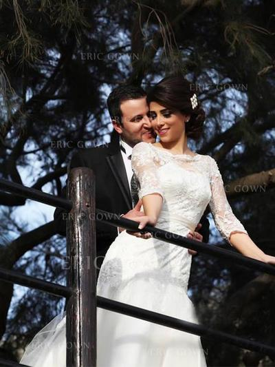 Trumpet/Mermaid Scoop Floor-Length Wedding Dresses With Lace (002217905)