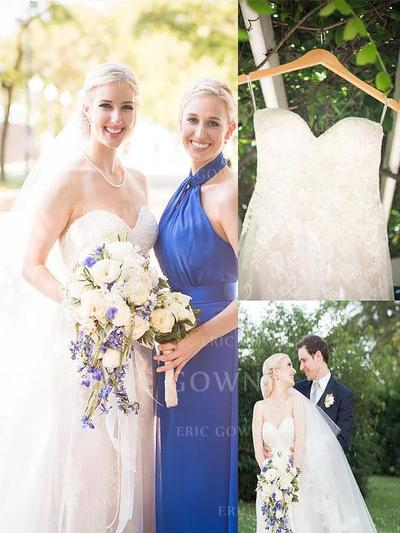 A-Line/Princess Sweetheart Sweep Train Wedding Dresses With Lace (002148006)
