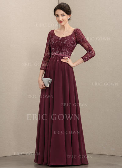 A-Line V-neck Floor-Length Chiffon Lace Mother of the Bride Dress With Beading Sequins (008195371)