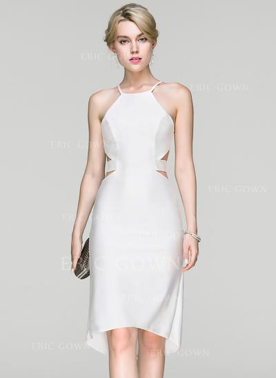 Sheath/Column Scoop Neck Asymmetrical Jersey Cocktail Dress (016094359)
