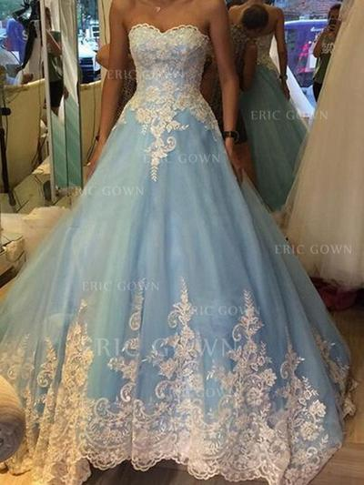 Ball-Gown Sweetheart Floor-Length Prom Dresses With Appliques (018218124)