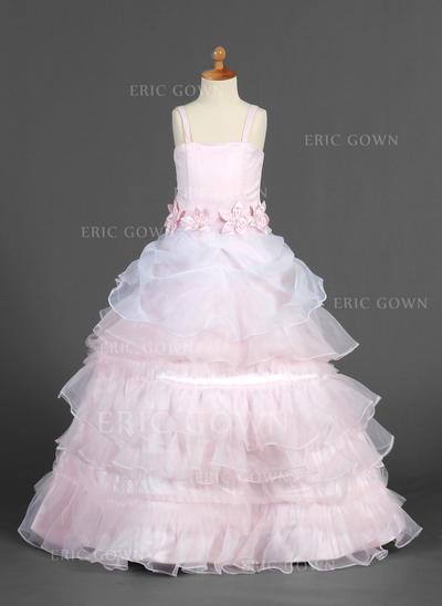 Luxurious Straps A-Line/Princess Flower Girl Dresses Floor-length Organza/Satin Sleeveless (010014655)