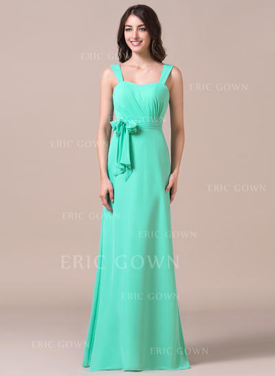 Sheath/Column Sweetheart Floor-Length Bridesmaid Dresses With Ruffle Bow(s) (007198794)