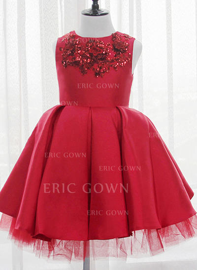 Ball Gown Scoop Neck Knee-length With Sequins Satin/Tulle/Sequined Flower Girl Dresses (010211661)