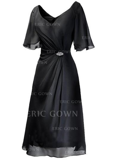 A-Line/Princess Chiffon 1/2 Sleeves V-neck Tea-Length Zipper Up Mother of the Bride Dresses (008146377)