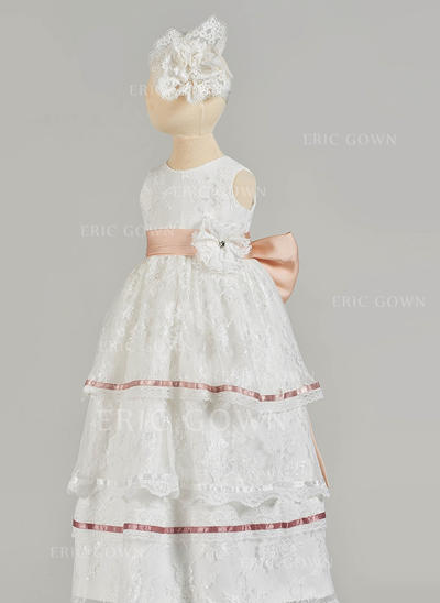 A-Line/Princess Scoop Neck Floor-length Lace Christening Gowns With Beading Bow(s) (2001217435)