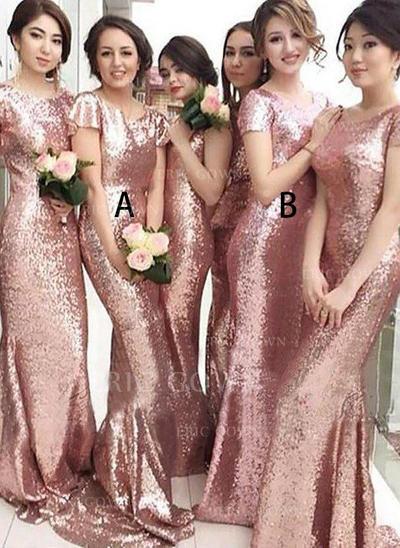 Sheath/Column Sequined Bridesmaid Dresses Scoop Neck Short Sleeves Sweep Train (007211567)