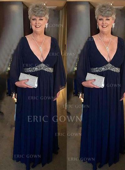 A-Line/Princess Chiffon Long Sleeves V-neck Floor-Length Zipper Up Mother of the Bride Dresses (008212782)