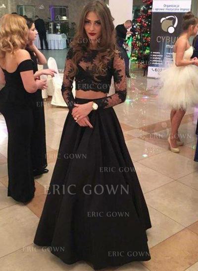 A-Line/Princess Scoop Neck Floor-Length Evening Dresses (017196704)