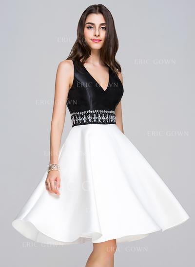 A-Line/Princess V-neck Knee-Length Satin Homecoming Dresses With Beading (022214050)