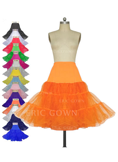 Petticoats Knee-length Tulle Netting/Lycra A-Line Slip 3 Tiers Petticoats (037190829)