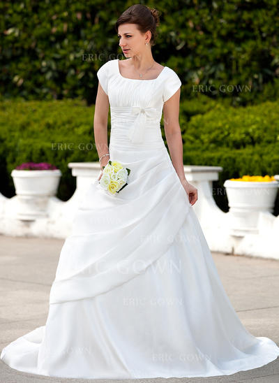 A-Line/Princess Taffeta Short Sleeves Square Court Train Wedding Dresses (002001626)