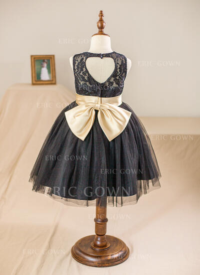 Ball Gown Knee-length Flower Girl Dress - Satin/Tulle/Lace Sleeveless Scoop Neck With Sash/Back Hole (010094117)