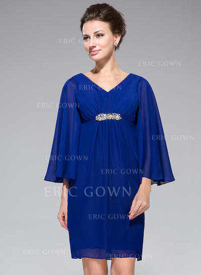 Empire Chiffon Long Sleeves V-neck Short/Mini Zipper Up Mother of the Bride Dresses (008042324)