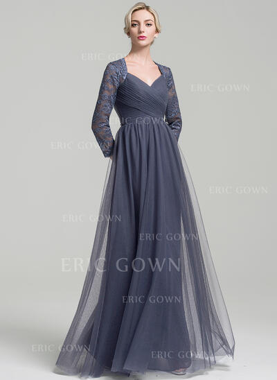 A-Line/Princess Sweetheart Floor-Length Tulle Mother of the Bride Dress With Ruffle (008091957)