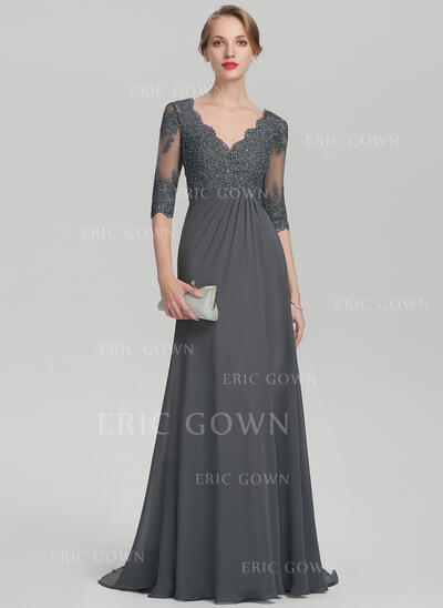 Empire V-neck Sweep Train Chiffon Lace Evening Dress With Beading Sequins Cascading Ruffles (017144972)