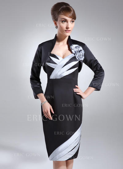 Sheath/Column Sweetheart Knee-Length Mother of the Bride Dresses With Ruffle Beading (008006175)