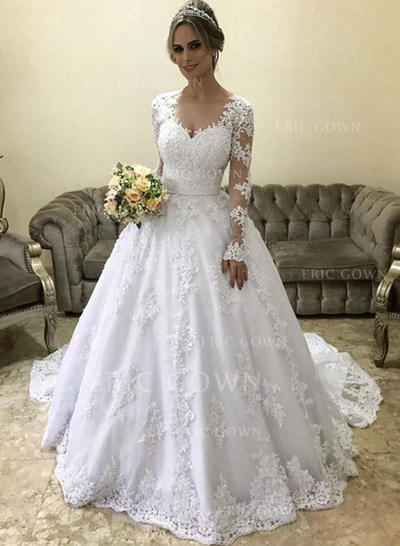 Ball-Gown V-neck Court Train Wedding Dresses With Appliques Lace (002218065)