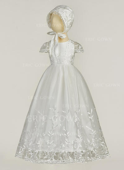 A-Line/Princess Scoop Neck Floor-length Tulle Christening Gowns (2001217416)